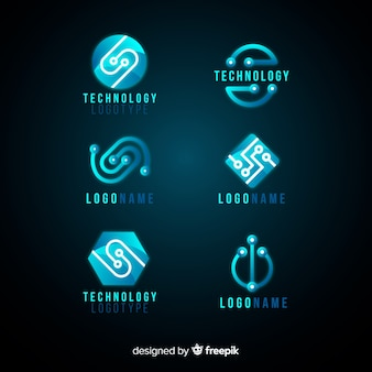 Gradient technologie logo sjabloonverzameling