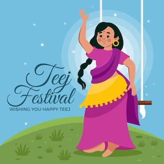 Gradiënt teej festival illustratie