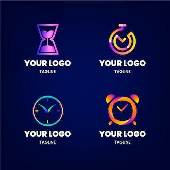 Gradient tijd logo-collectie