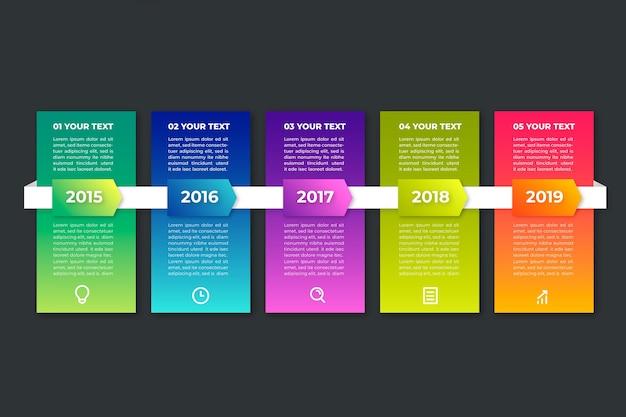 Gradient tijdlijn infographic op zwarte achtergrond met tekstvakken