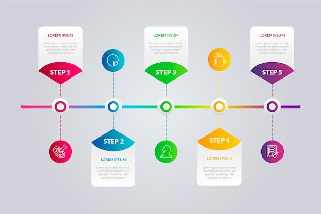 Gradient tijdlijn infographic sjabloon