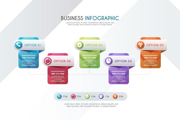 Gradient tijdlijn infographic