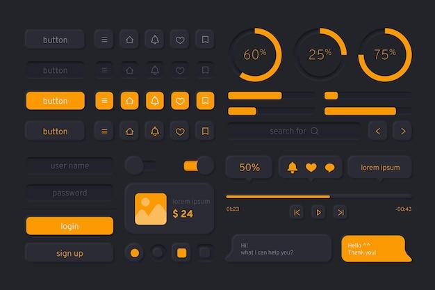 Gradient ui-kit voor apps donkere modus apps