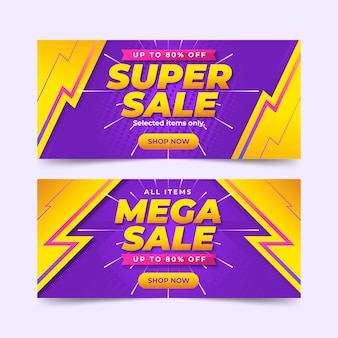 Gradiënt verkoop horizontale banners set