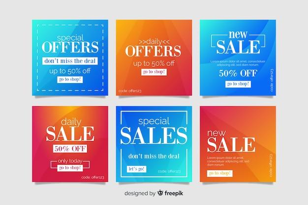 Gradient verkoop instagram post collectie