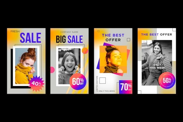 Gradient verkoop instagram verhaalcollectie