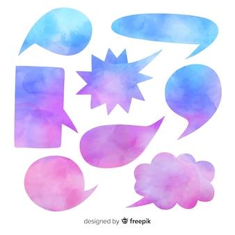 Gradiënt violet en blauwe tekstballonnen