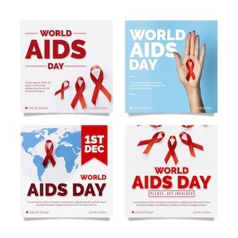 Gradient world aids day instagram posts collection