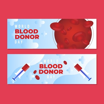 Gradient world blood donor day-banners instellen
