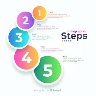 Gradient zakelijke infographic stappen