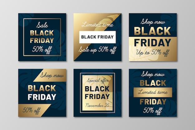 Gradient zwarte vrijdag instagram postverzameling