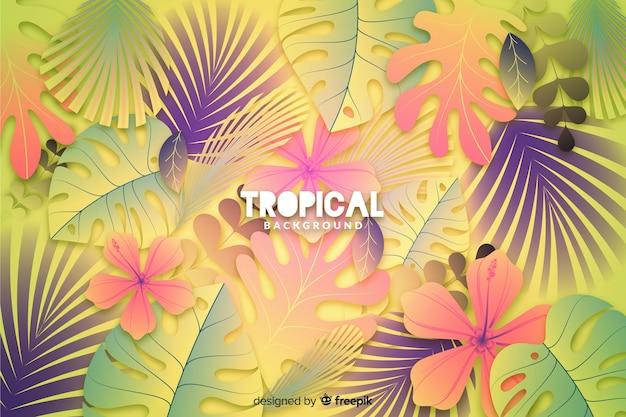 Gradiëntachtergrond met tropische bladeren