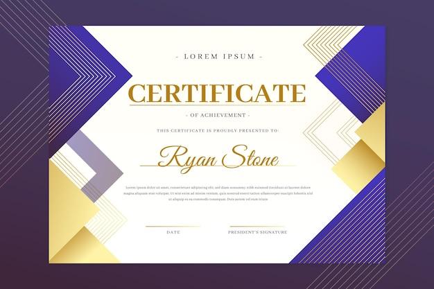 Gradiëntkleurig elegant certificaat