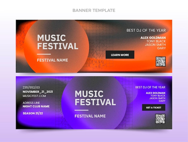 Gradiënttextuur muziekfestival horizontale banners