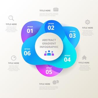 Gradiëntvorm infographic met tekst en pictogrammen