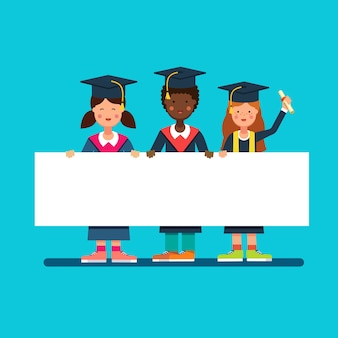 Graduate studenten meisjes en jongen in mortar hoeden