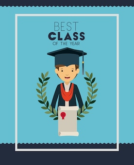 Graduatiekaart met man karakter
