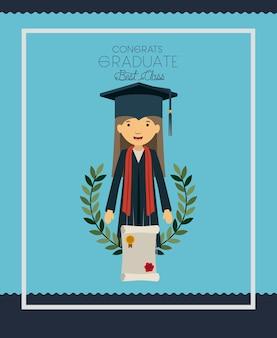Graduatiekaart met vrouwenkarakter
