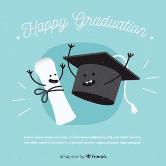 Graduation cap en diploma met plat ontwerp