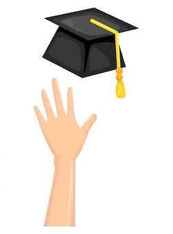 Graduation cap met hand