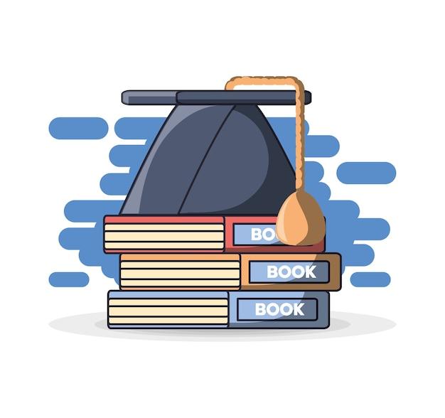 Graduation cap op stapel boeken