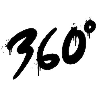 Graffiti 360 graden gespoten geïsoleerd op een witte achtergrond. gespoten 360 graden font graffiti. vectorillustratie.