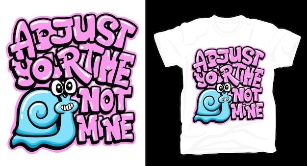 Graffiti belettering kunst met slak t-shirt design