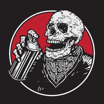 Graffiti bommenwerper skelet schedel