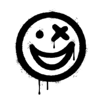 Graffiti lachend gezicht emoticon gespoten geïsoleerd op een witte achtergrond. vectorillustratie.