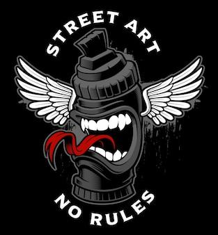 Graffiti marker monster. karakter van straatkunst op donkere achtergrond. graffiti logo.