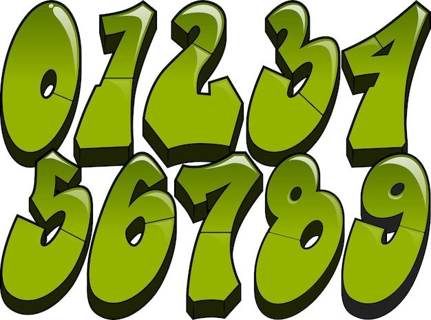 Graffiti-nummers leesbare glanzende graffiti-stijl nummers 0-9