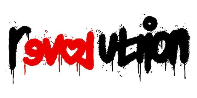 Graffiti revolutie woord gespoten geïsoleerd op een witte achtergrond. gespoten revolutie lettertype graffiti. vectorillustratie.