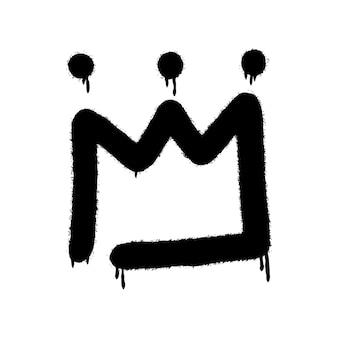 Graffiti spray kroon icoon met over spray in zwart over wit. vectorillustratie.