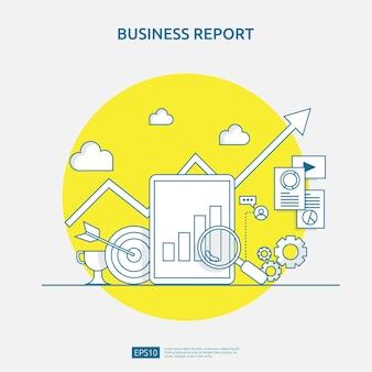 Grafiek document gegevens rapport concept voor bedrijfsstatistieken, investeringsanalyse, planning van onderzoek en financiële audit accounting met vel papier, handen, vergrootglas, papierwerk, grafieken, grafieken element