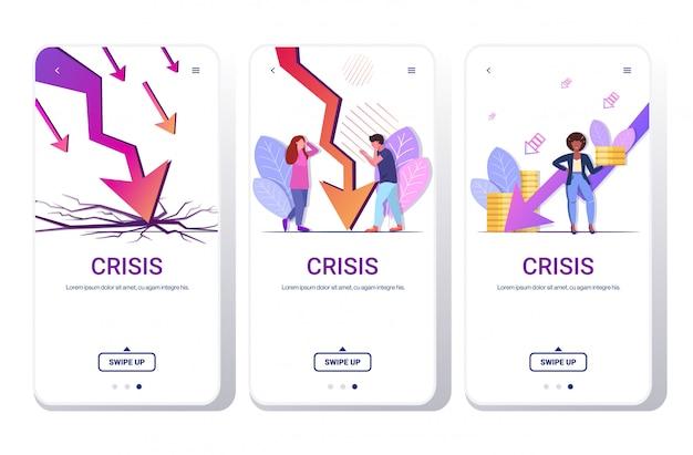 Grafiek economische pijl vallen financiële crisis faillissement zakelijke mislukking concept telefoon