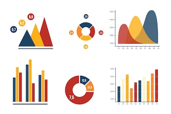 Grafiek en cirkeldiagram bedrijfs marketing met de inzamelings vectorillustratie van de harmoniekleur