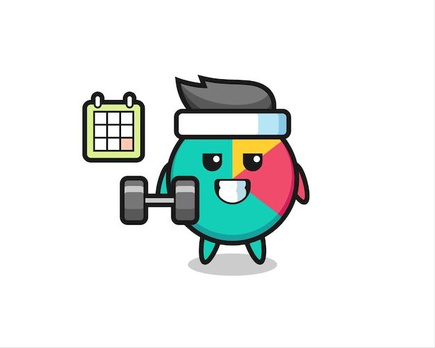 Grafiek mascotte cartoon doet fitness met halter, schattig stijlontwerp voor t-shirt, sticker, logo-element