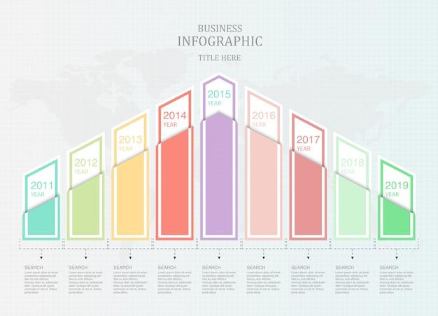 Grafiek negen element infographic voor zaken