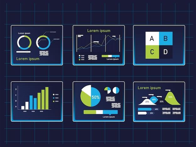 Grafieken infographics pictogrammen collectie, gegevens informatie en analyse thema illustratie