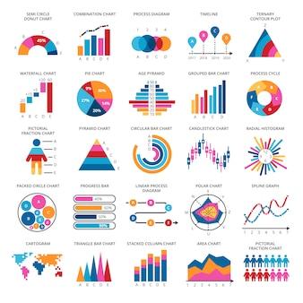 Grafieken van bedrijfsgegevens. vector financiële en marketing grafieken