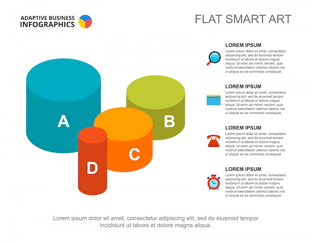 Grafieksjabloon met vier cilinders voor presentatie. bedrijfsgegevens.
