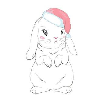 Grafisch konijntje in santa claus-hoed op wit wordt geïsoleerd dat