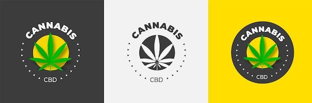 Grafisch logo-ontwerp met medicinale marihuana op een gekleurde achtergrond in het midden van de cirkel