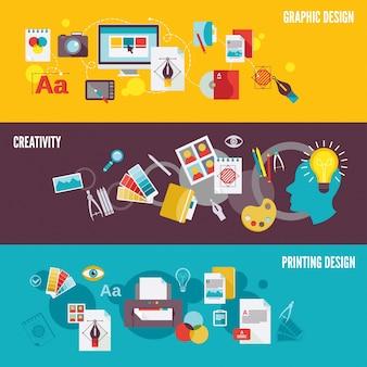 Grafisch ontwerp digitale fotografie banner set met creativiteit afdrukken geïsoleerde vector illustratie