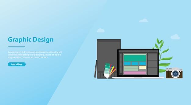 Grafisch ontwerp en ontwerperconcept met teammensen en sommige hulpmiddelen zoals pantone van de pentablet voor websitemalplaatje of het landen homepage