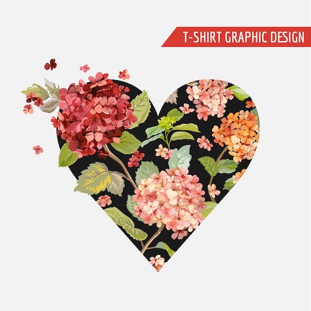 Grafisch ontwerp met bloemenhart - voor t-shirt