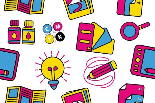 Grafisch ontwerp naadloos patroon in platte ontwerpstijl