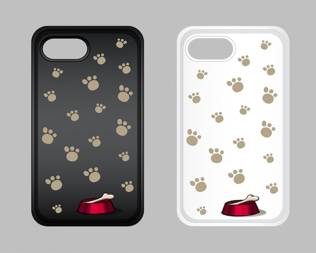 Grafisch ontwerp op mobiele telefoonhoes met voetafdrukken van honden