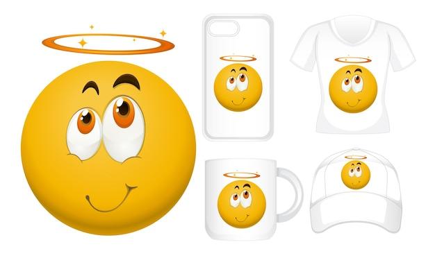 Grafisch ontwerp op verschillende producten met een blij gezicht