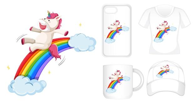 Grafisch ontwerp op verschillende producten met eenhoorn op regenboog